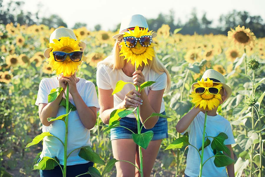 About Our Agency - Mother And Children Standing Behind Sunflowers With Glasses On